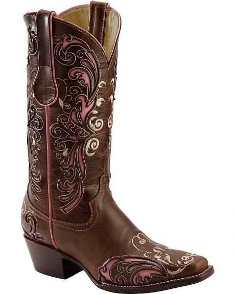 Ferrini Pink Inlay Embroidered Cowgirl Boots - Snip Toe