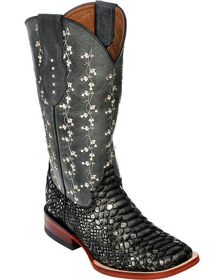 Ferrini Floral Embossed & Embroidered Cowgirl Boots - Wide Square Toe