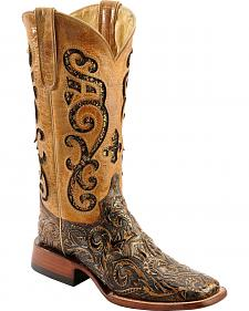 Ferrini Embossed Glitter Inlay Cowgirl Boots - Wide Square Toe