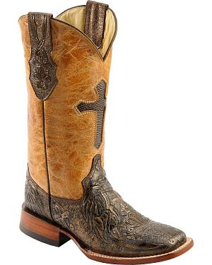 Ferrini Embossed Cross Inlay Cowgirl Boots - Wide Square Toe