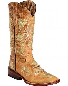 Ferrini Distressed Floral & Cross Embroidered Cowgirl Boots - Wide Square Toe