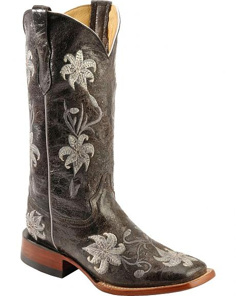 Ferrini Distressed Floral Embroidered Cowgirl Boots - Wide Square Toe