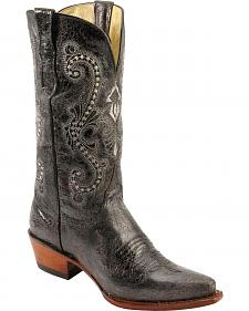 Ferrini Old Crazy Black Distressed Cowgirl Boots - Snip Toe