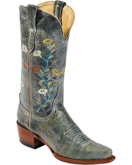 Ferrini Distressed Teal Floral Embroidered Cowgirl Boots - Snip Toe