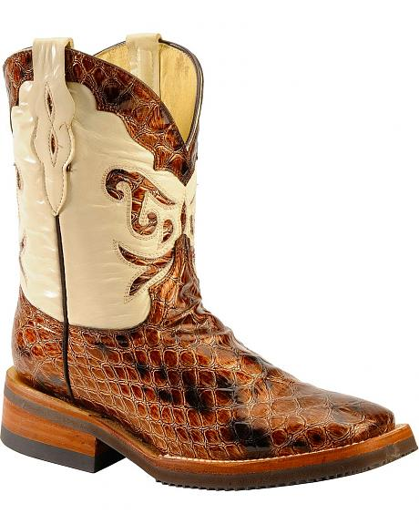 Ferrini Metallic Croc Print Cowgirl Boots - Wide Square Toe