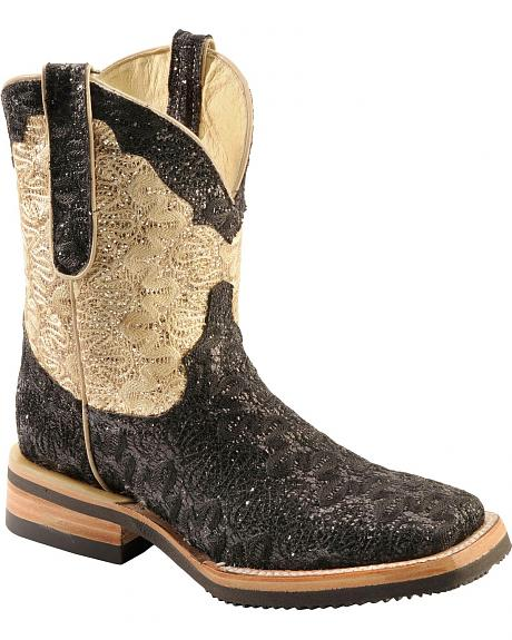 Ferrini Black & Gold Glimmer Cowgirl Boots - Wide Square Toe