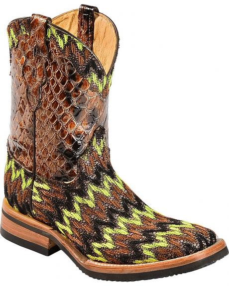 Ferrini Woven Short Cowgirl Boots - Square Toe