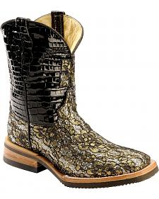 Ferrini Gold Floral Overlay Cowgirl Boots - Wide Square Toe