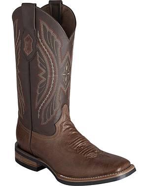 Ferrini Distressed Kangaroo Cowgirl Boots - Wide Square Toe
