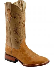 Ferrini Distressed Kangaroo Cowgirl Boots - Wide Square Toe