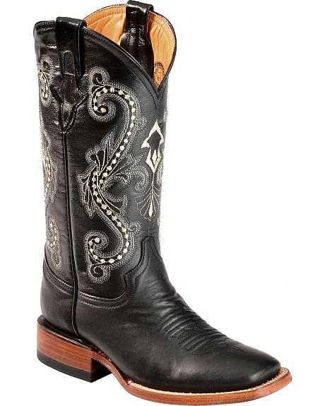 Ferrini Black Kangaroo Cowgirl Boots - Square Toe