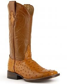 Ferrini Full Quill Ostrich Cognac Cowgirl Boots - Square Toe