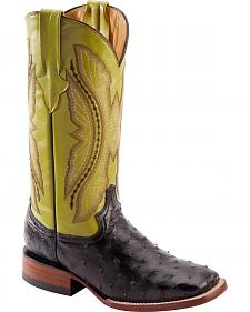 Ferrini Black Full Quill Ostrich Cowgirl Boots - Wide Square Toe