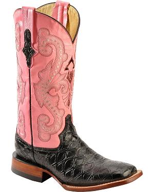 Ferrini Blush Pink Anteater Print Cowgirl Boots - Wide Square Toe