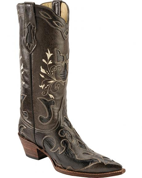 Ferrini Black Lizard Inlay Cowgirl Boots - Snip Toe