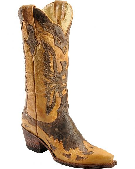 Ferrini Distressed Eagle Overlay Cowgirl Boots - Snip Toe