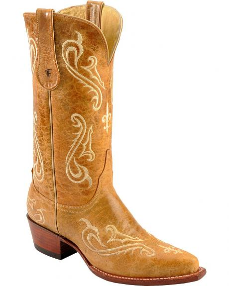 Ferrini Distressed Tan Fleur-De-Lis Embroidered Cowgirl Boots - Snip Toe