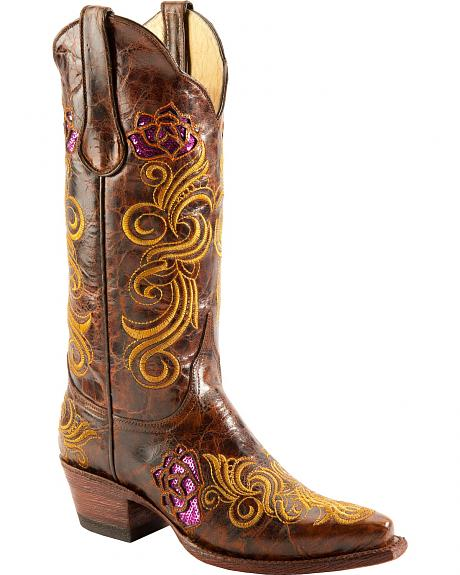 Ferrini Floral Sequin Inlay Embroidered Cowgirl Boots - Snip Toe