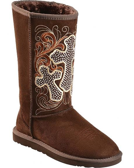 Montana West Studded Cross Faux Shearling Boots