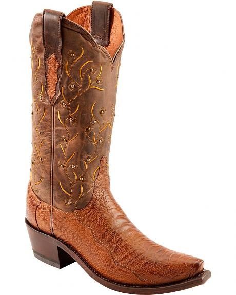 Lucchese Handcrafted 1883 Valeria Ostrich Leg Cowgirl Boots - Snip Toe
