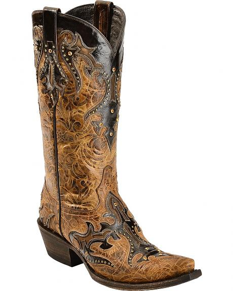 Lucchese 1883 Diabla Swarovski Crystal Cowgirl Boots - Snip Toe