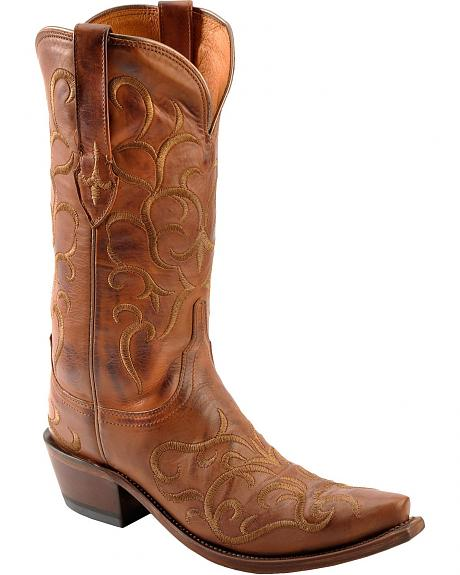 Lucchese 1883 Fancy Stitched Cowgirl Boots - Snip Toe