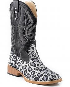 Roper Glittery Leopard Print Faux Leather Cowgirl Boots - Square Toe