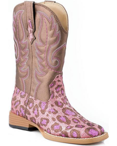 Roper Glittery Pink Leopard Print Faux Leather Cowgirl Boots - Square Toe
