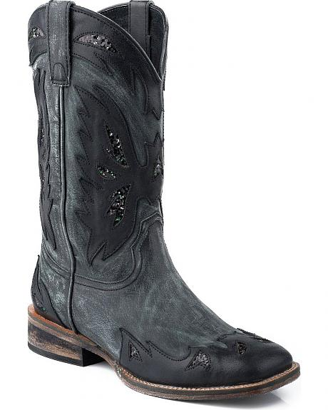 Roper Vintage Black Eagle Overlay Cowgirl Boots - Square Toe