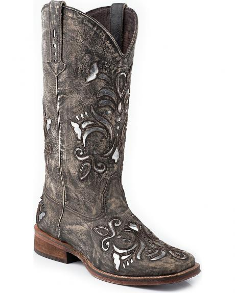 Roper Fancy Silver Inlay Cowgirl Boots - Square Toe