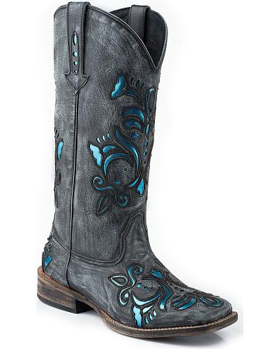 Roper Shiny Turquoise Leather Inlay Cowgirl Boots Square Toe Western & Country 09-021-0901-0672