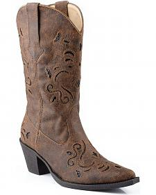 Roper Vintage Faux Leather Glittery Inlay Cowgirl Boots - Snip Toe