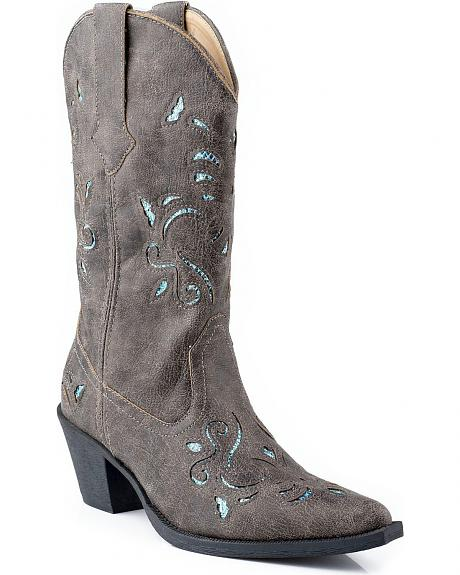 Roper Vintage Glittery Inlay Faux Leather Cowgirl Boots - Snip Toe