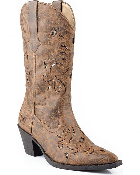 Roper Vintage Glittery Inlay Cowgirl Boots - Snip Toe