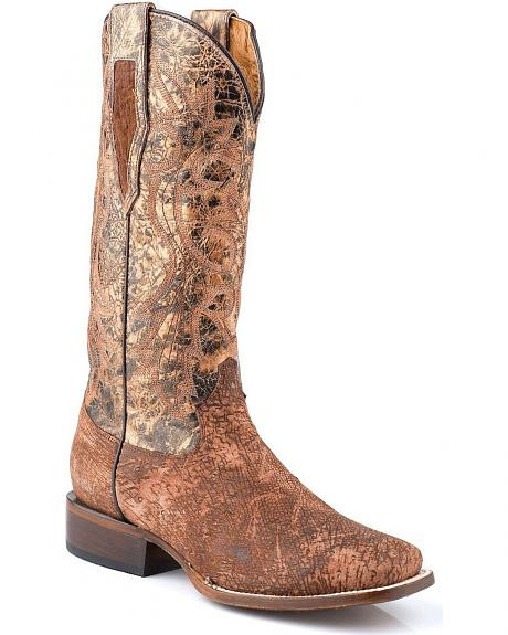 Roper Smooth Ostrich Metallic Cowgirl Boots - Square Toe