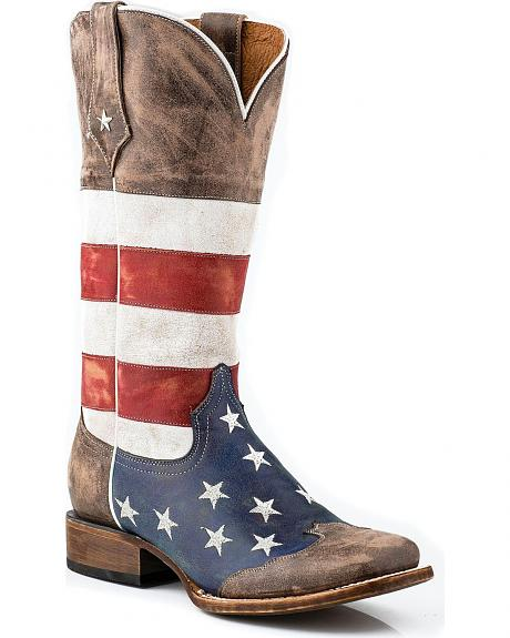 Roper Distressed American Flag Cowgirl Boots - Square Toe