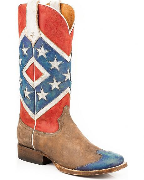 Roper Distressed Rebel Flag Cowgirl Boots - Square Toe