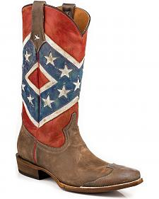 Roper Distressed Rebel Flag Cowgirl Boots - Snip Toe