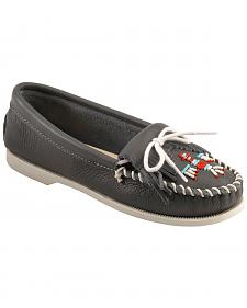 Minnetonka Smooth Leather Thunderbird Moccasins - Boat Sole