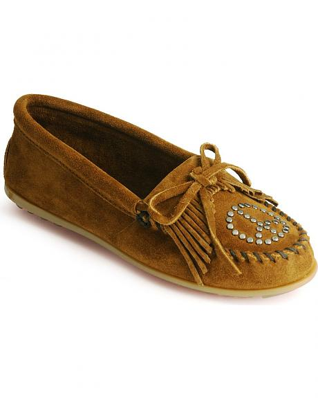Minnetonka Peace Sign Fringed Moccasins