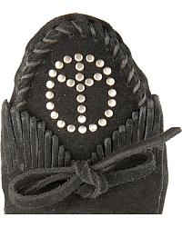 Minnetonka Peace Sign Fringed Moccasins at Sheplers