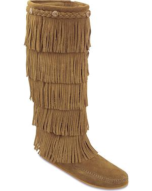 Minnetonka Fringed Suede Leather Boots