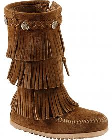 Minnetonka Girls' Fringed Suede Boots