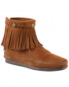 Minnetonka Back Zipper Ankle Moccasins