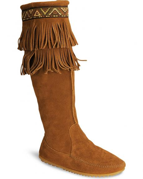 Minnetonka Tall Fringed Suede Boots