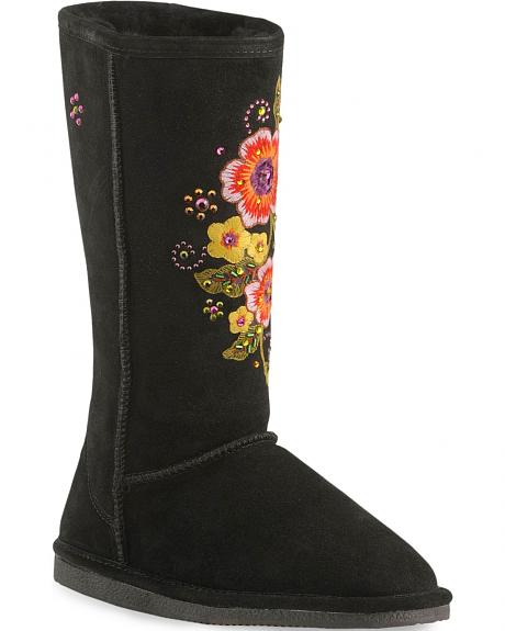 Bearpaw Embroidered Flower Winter Boots