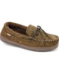 Chestnut Men's Leather Moccasin Slippers