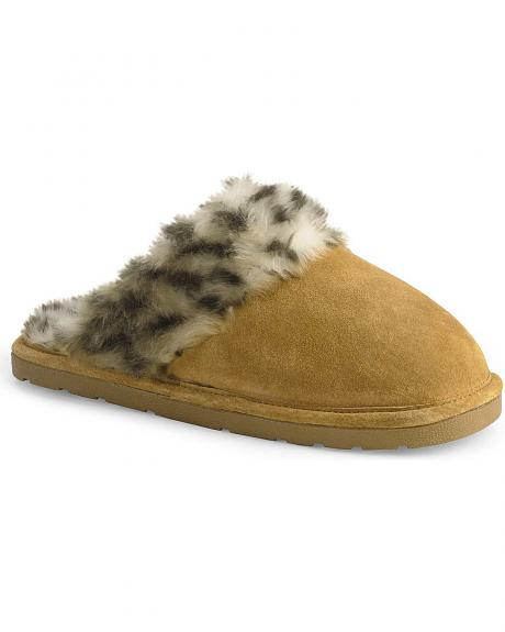 Scuff Plush Leopard Print Lined Leather Slippers