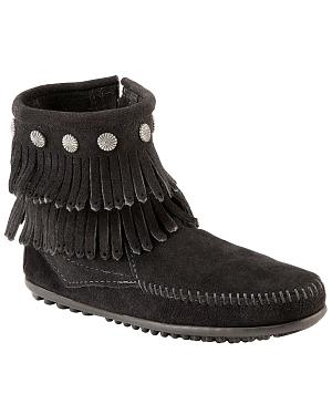 Minnetonka Double Fringe Side Zip Moccasin