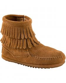 Minnetonka Girls' Double Fringe Side-Zip Moccasin Boot